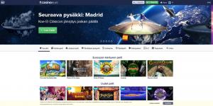 Kuvakaappaus Casino Euro -nettikasinon etusivusta: taustalla maapallo kuvattuna avaruudesta käsin, etualalla kaksi miestä jalkapallon kimpussa jonkinlaisen asteroidin päällä.