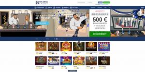 Kuvakaappaus Finlandia Casino -nettikasinon etusivusta: sarjakuvamainen piirros muskelimiehestä kuvattuna eri tilanteissa, vasemmalla telkkarin edessä, keskellä konfettisateessa ja oikealla katsomassa Linnan juhlia.