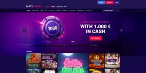 Kuvakaappaus PartyCasino-nettikasinon etusivusta: abstrakti tummansininen ja -violetti tausta, jota vasten futuristinen nappi. Siinä on numero 1000.