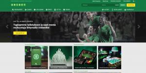 Kuvakaappaus Unibet-nettikasinon etusivusta: vihreisiin paitoihin pukeutuneita urheilijoita riemuitsemassa.